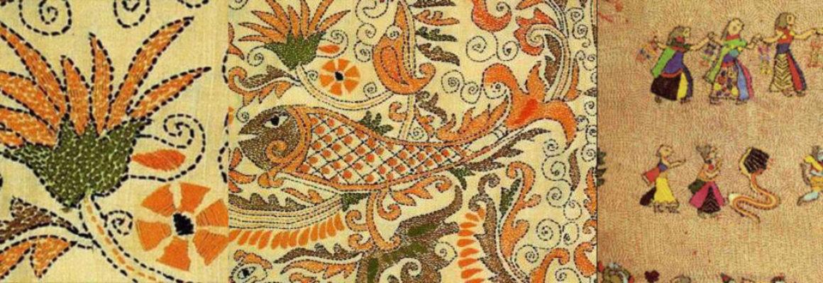 Вышивка «сашико» зачастую используется как оберег, призванный защитить человека от злых чар (узор «бамбук» - символ стойкости) или усилить некоторые свойства («узор «панцирь черепахи», как пожелание долголетия).   Существуют «сезонные» узоры – («травы» - символ осени) благопожелательные узоры для удачи в делах («рыбачья сеть» - приносит удачу рыбакам)   Одна необходимость скрепить слои ткани. Один и тот же используемый шов. Две страны, две культуры и – одинаково восхитительный результат! И, если японская вышивка поражает своей строгой математической выверенностью и изяществом, то в индийской вышивке главное – свободное размещение фигур и красочность.